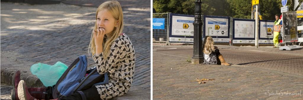 Kinderen rusten uit tijdens het initiatief van Liesje Doet, straatfotografie Sandra Stokmans