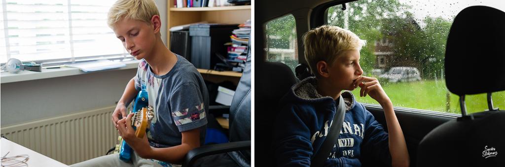Day in the Life momenten van mijmering, gitaarspelen en uit raam auto kijken, documentaire familie fotografie, image by Sandra Stokmans Fotografie