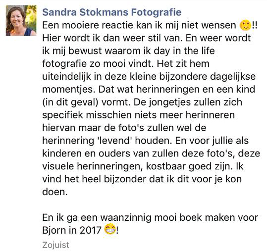 Reactie op Compliment Sandra Stokmans Fotografie, Day in the Life fotograaf Utrecht