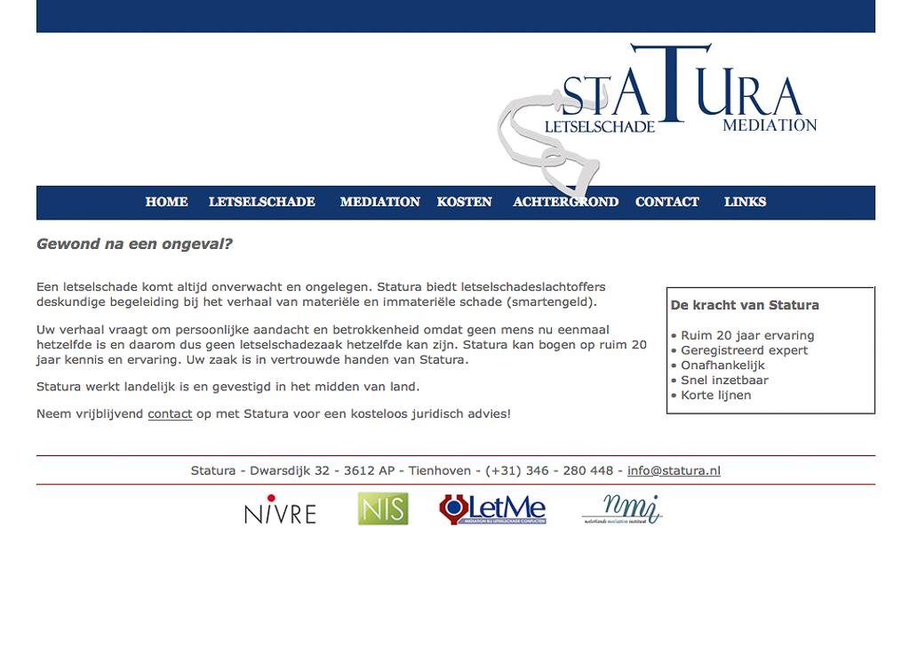 Oude website Statura, Fotos voor je website, website fotografie, website bouwen door Sandra S
