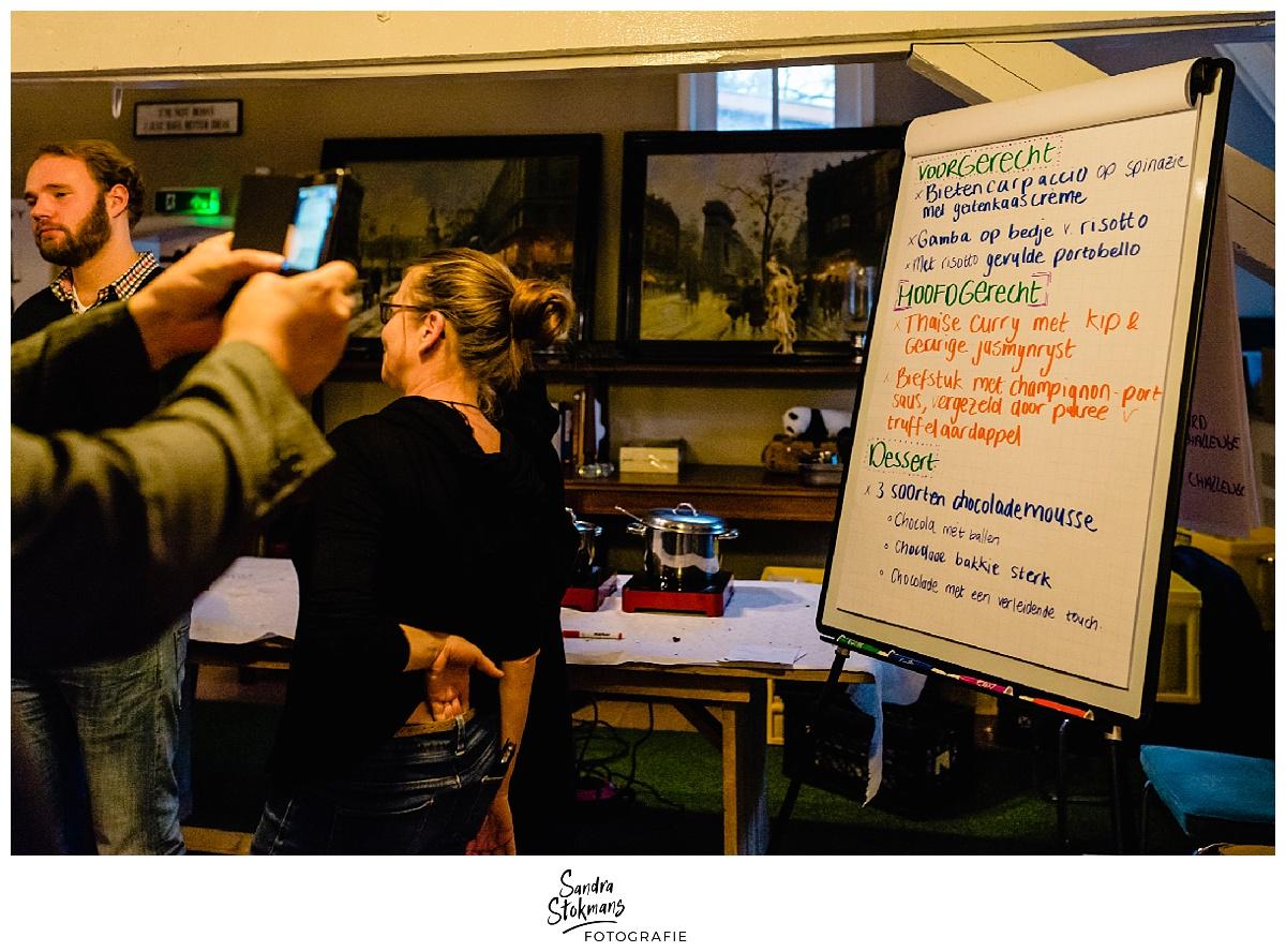 Fotoreportage maken, het menu van het kick-off diner van de HEI Challenge, foto door Sandra Stokmans Fotografie