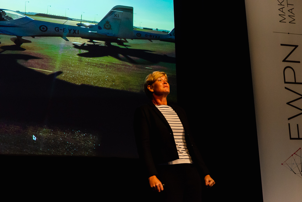 Motivational speaker Mandy Hickson about being a former Tornado GR4 Pilot, with event photographer Sandra Stokmans